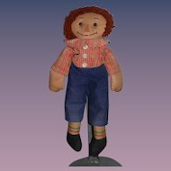 Wonderful Old Raggedy Andy Cloth Doll Rag Doll Button Eyes