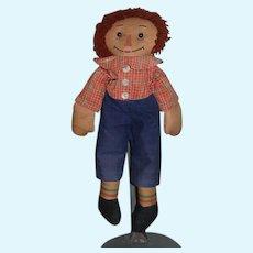 Wonderful Old Raggedy Andy Cloth Doll Rag Doll Button Eyes