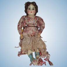 Old Doll Wax Doll Glass Eyes Unusual Look Old Silk Clothing
