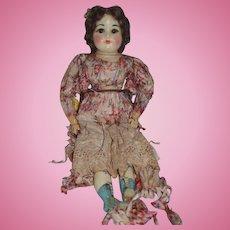 Old Doll Wax Doll Glass Eyes Unusual Look Old Silk Clothing
