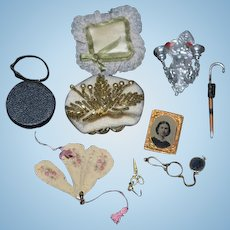 Wonderful Doll Miniature Dollhouse Lot Fan Old Framed Tin Type Photograph Beaded Purse Scissors Cane Eye Glasses