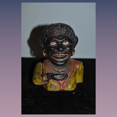 Old Cast Iron Bank Black Doll Americana Mechanical Eyes Move Arm Moves
