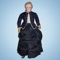 Antique Doll French Bisque Portrait Poupee on Orig French Fashion Poupee Closed Mouth