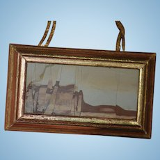 Wonderful Miniature Doll Dollhouse Stone Picture Italian Singed Framed Artist Made Paesina Calcaire Oxyde De Infiltrates