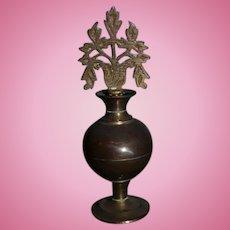 Miniature Brass Doll Perfume Bottle w/ Dauber For Vanity