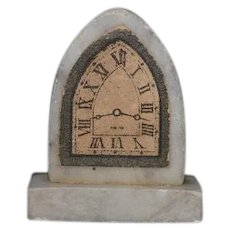 Old Doll Marble Stone Clock Miniature Dollhouse Mantle