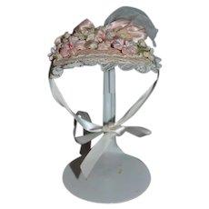 Artist Doll Hat Bonnet  Dainty Details Hatworks Flowers bows Straw