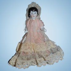 Old Unusual Doll Frozen Charlotte China Head Different Face Miniature Dollhouse