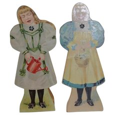 Old Paper Dolls Moving Heads Double Sided Sweet! Doll