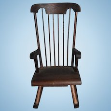 Vintage Doll Rocking Chair Wood Miniature
