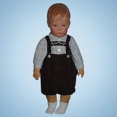 Old Kathe Kruse Oil Cloth Doll Type 1 Adorable Dressed!
