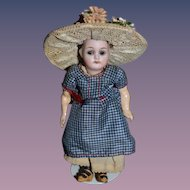 Old Doll Miniature Bisque Fancy Glass Eyes Wonderful Hat and Clothes Dollhouse