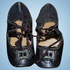 Old Leather Doll Shoes Buckles Lace Up