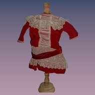 Old Doll Dress Velvet Drop Waist Lace Red Velvet