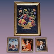Artist Doll Miniature Portrait Picture Set Dollhouse Signed BK
