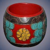 Funky Chunky Bracelet W/ inlaid Turquoise Mosaic Style Unusual Bangle Cuff
