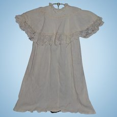 Antique Doll Child Dress Cape Collar Wonderful Lace Fancy