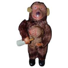 Old Miniature Wind Up Monkey Feeding Baby Doll
