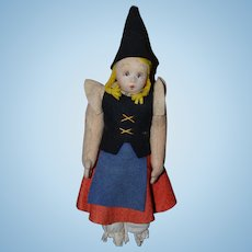 Old Doll Sweet Cloth Doll Felt Doll Painted Features Jointed Original Costume