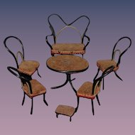 Old Doll Miniature Wood Bamboo Dollhouse Furniture Chairs Settee Table Stool