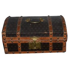 Antique Doll Trunk WONDERFUL Brass and Leather W/ Key