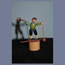 Old Wood Miniature Doll Push Toy Skier Dollhouse