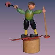 Old Wood Miniature Doll Push Toy Skier Dollhouse