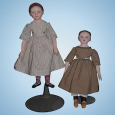 Artist Doll Cloth Doll Pair One of a Kind Susie McMachon Lisbeth & Lucinda Gorgeous Signed