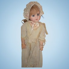 Antique Doll French TeTe Jumeau Closed Mouth Dressed Sweet Human Hair Wig