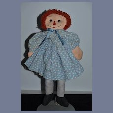 Old Raggedy Ann Doll Cloth Doll Rag Doll Glass Button Eyes Sewn on Features