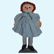Old Raggedy Ann Doll Cloth Doll Rag Doll Glass Button Eyes Sewn on Features