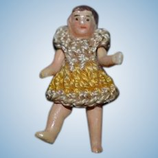 Old Miniature Doll All Bisque Jointed Dollhouse Crochet Clothing