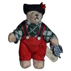Artist Teddy Bear Doll Dollhouse Miniature TUFFY Signed GB