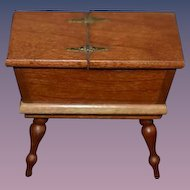 Artist Made Wood Chest Signed W/ Open Top Doll Table