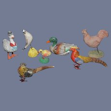 Old Doll Miniature Bird Lot Dollhouse Lot Rooster Duck Pheasant Unusual