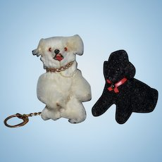 Old Doll German Miniature Fur Toys Dog and Bear Poodle Dollhouse