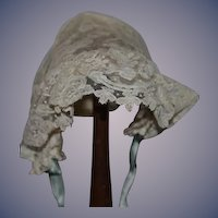 Old Doll Lace Bonnet Hat Sweet Fancy Hand Made