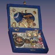 Old Doll Miniature Box For Fashion Doll Treasure Chest BeBe Pin Purse Fan Scissors Perfume Rings Necklace & More