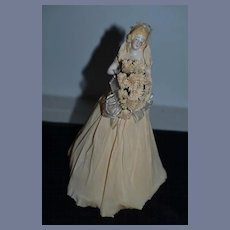 Old Doll Fancy Half Doll China Head Bride in Original Crepe Paper
