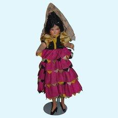 Vintage Doll Cloth Doll Felt Doll Wonderful Costume Fancy Wood Legs GORGEOUS
