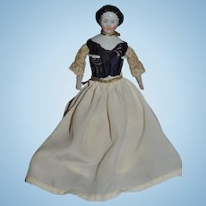 Antique Miniature Doll China Head Smiling Fancy Boots Alphabet Body Dollhouse Smiling