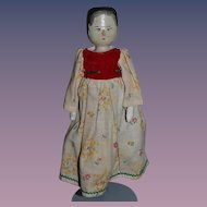 Old Doll Wood Pegged Grodnertal Doll Jointed Carved Dressed