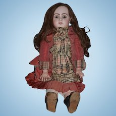Antique Doll French Bisque TeTe Jumeau GORGEOUS Antique Dress and Shoes Big Girl Human Hair Wig