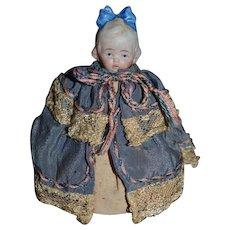 Adorable Old Miniature Bisque Half Doll Pincushion Pin Cushion Dollhouse