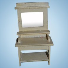 Old Doll Painted Wood Bath Wash Stand W/ Mirror Dollhouse Miniature Vanity