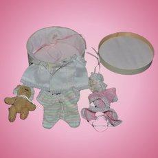 Artist Doll Miniature Box W/ Artist Bear and Clothes Wardrobe Sweet Dollhouse Lorna  A. Sora Doll