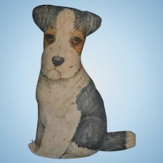 Old Cloth Fabric Dog Standing ADORABLE for Doll Terrier