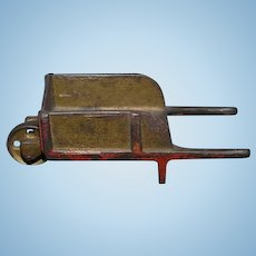 Old Doll Miniature Wagon Cast Iron W/ Wheel Display Wheelbarrow