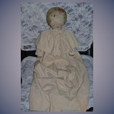 Old Doll Large Fabric Mills 1900 W/ Wonderful Antique Coat and Cameo Brooch Cloth Doll Rag Doll