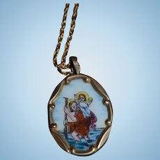 Old Miniature St. Christopher Painted on Porcelain Necklace For Doll Or Dollhouse Picture